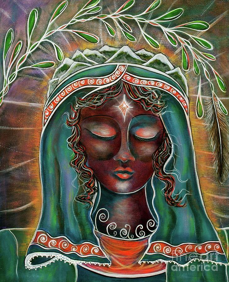 Deborha Kerr Painting - Peace - Black Madonna by Deborha Kerr