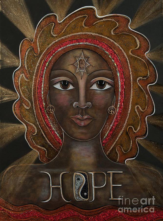 Contemporary Symbolism Painting - Hope - Black Madonna by Deborha Kerr