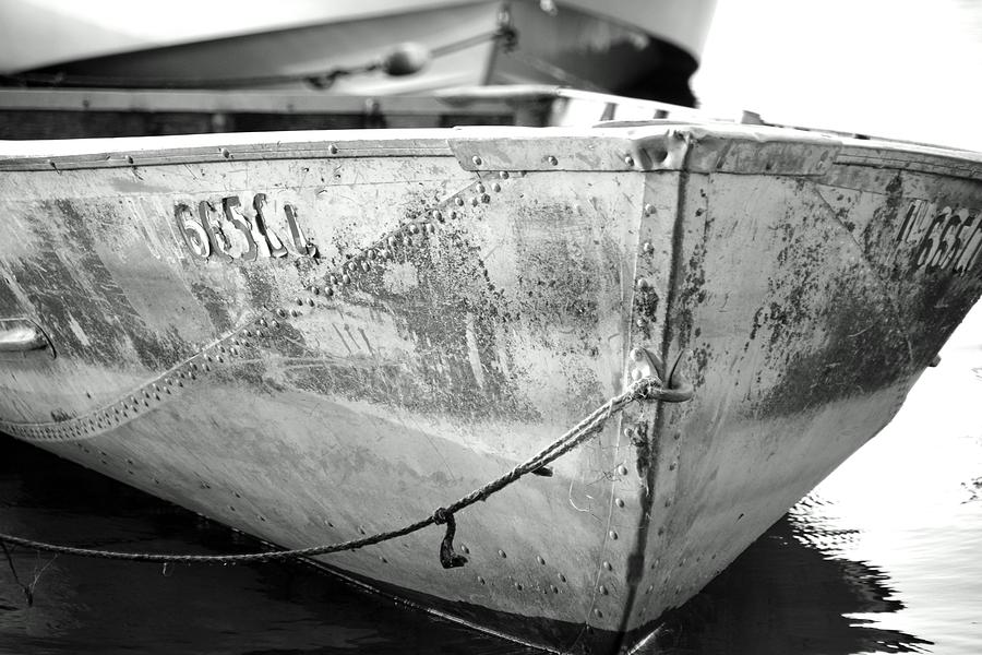 Black And White Photograph - Black N White Row Boat by Thomas Fouch