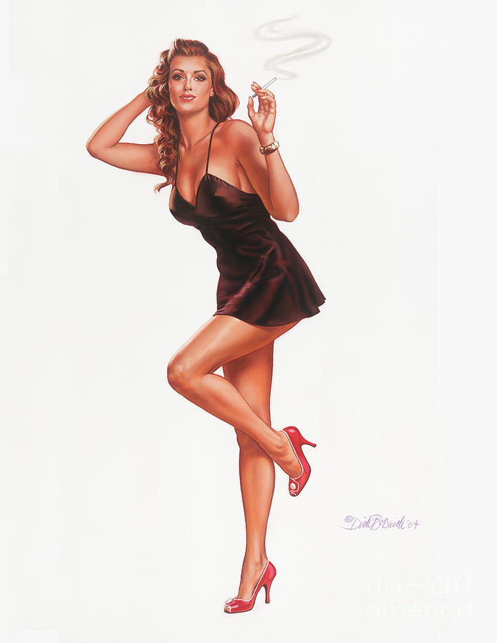 Portrait Painting - Black Negligee Girl by Dick Bobnick