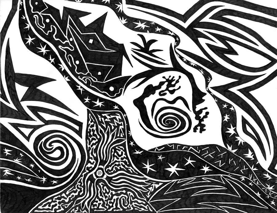 Black Night Drawing - Black Night by Kerri White