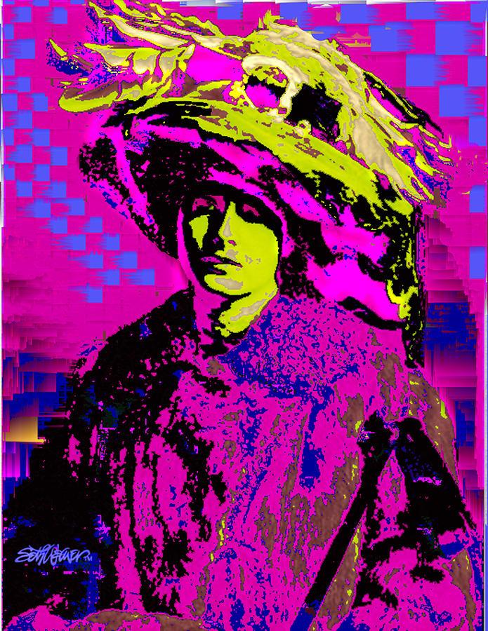 Gibson Girl Digital Art - Black On Pink by Seth Weaver