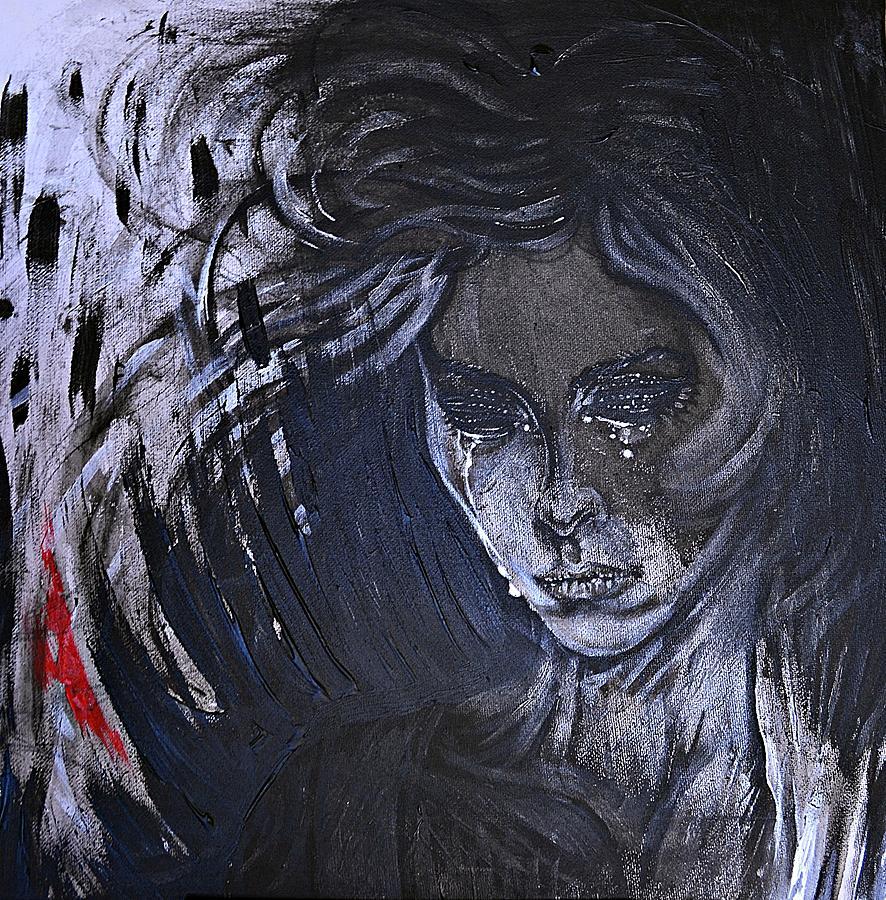 Actress Painting - black portrait 16 Juliette by Sandro Ramani