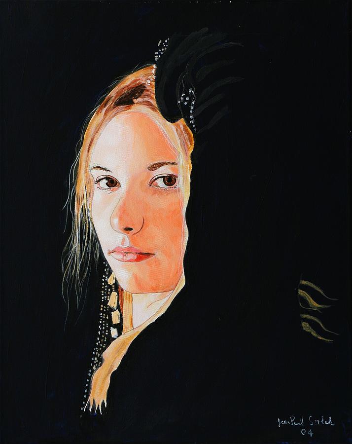 Black Princess Painting - Black Princess - Eyes of Fire by Jean-Paul Setlak
