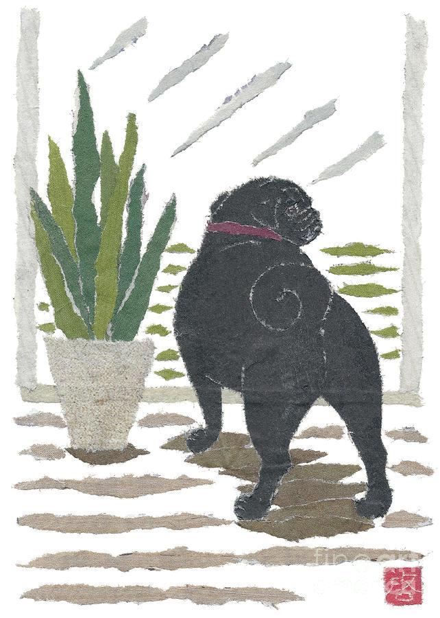 Black Pug Painting - Black Pug Art Hand-torn Newspaper Collage Art by Keiko Suzuki Bless Hue