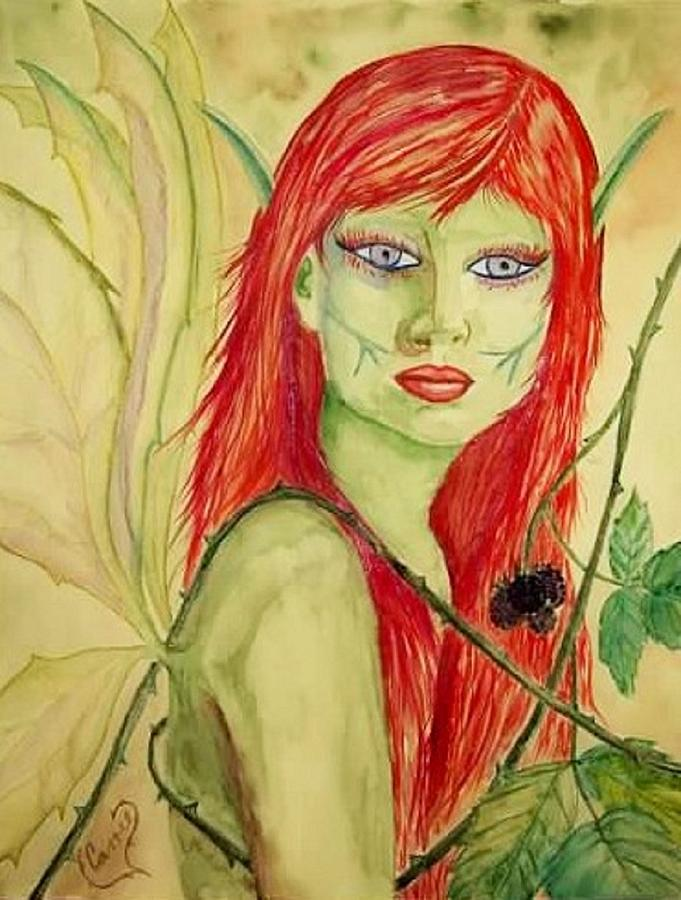 Faerie Painting - Black Raspberry Faerie by Carrie Viscome Skinner