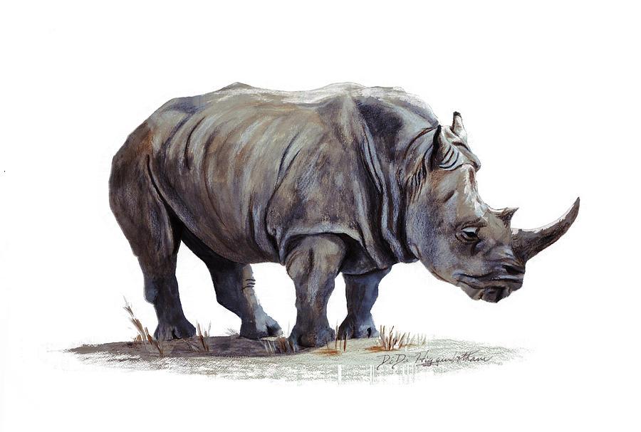 Black Rhinoceros Painting By Didi Higginbotham