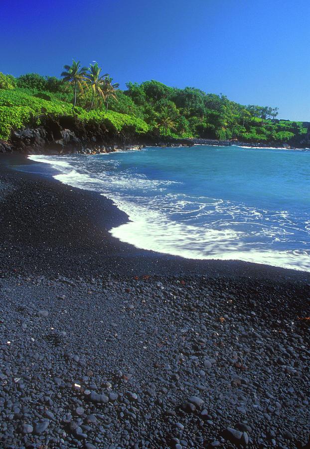 Hawaii Photograph - Black Sand Beach Hana Maui Hawaii by John Burk