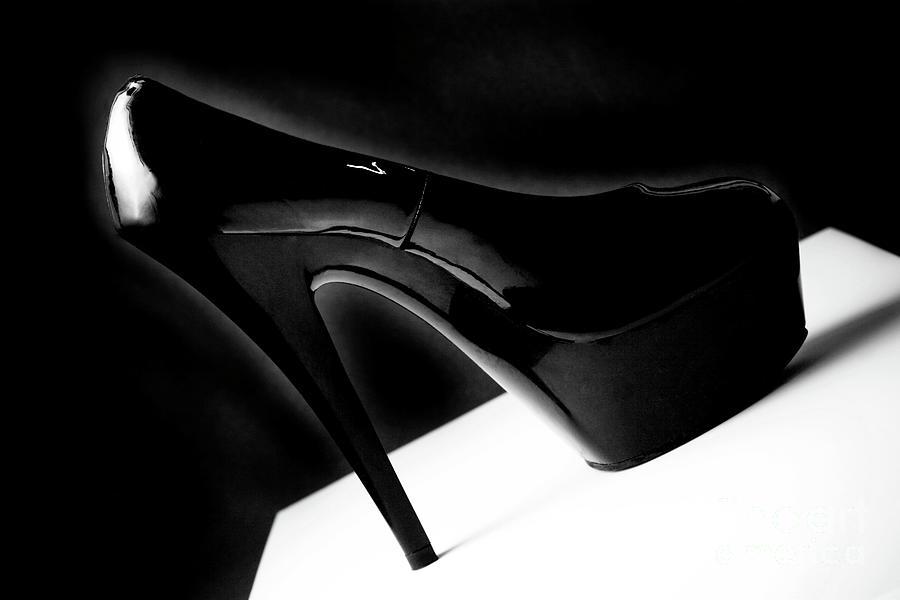 Black Photograph - Black Sexy Stiletto Heels 1 by Linda Matlow