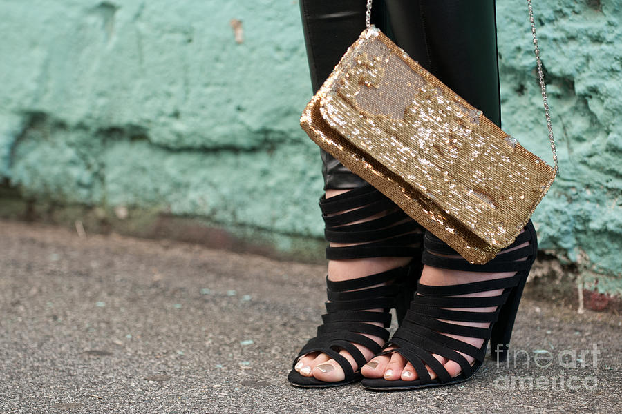 Zoe Photograph - Black Shoes Gold Sequins by Rick Piper Photography