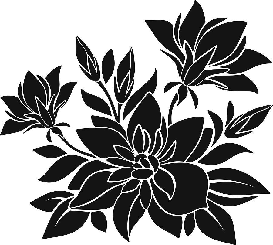 Black Silhouette Of Flowers. Vector Illustration. by Naddiya