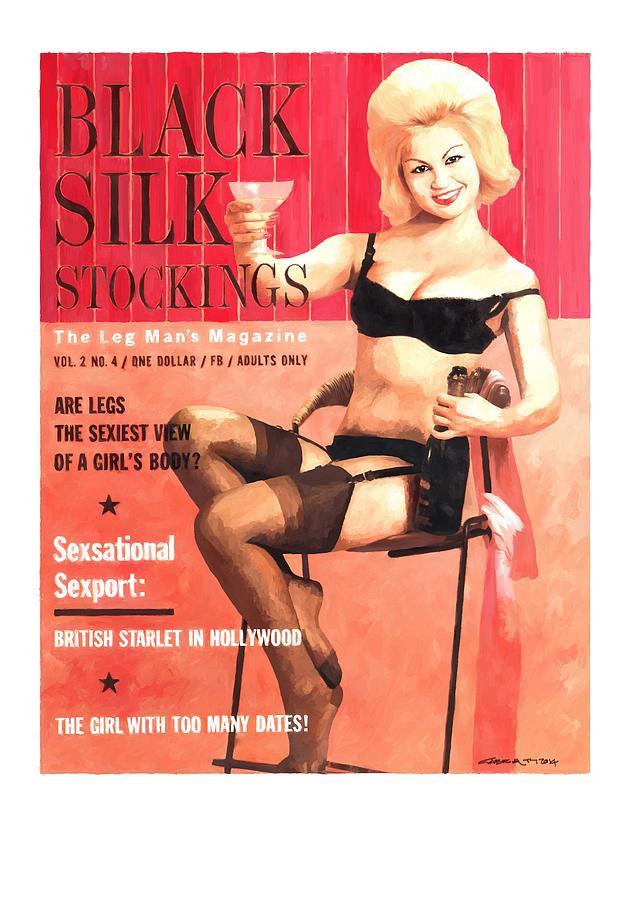 Adult Magazine Covers Digital Art - Black Silk - Vintage Magazine Covers Series by Gabriel T Toro