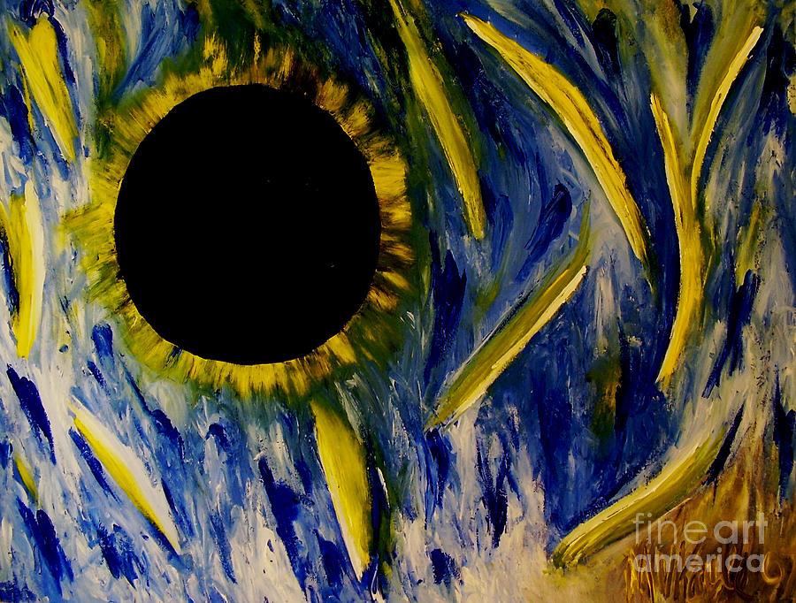 Blue Painting - Black Sun by Marten Kayle