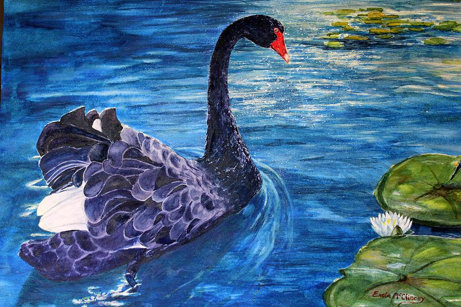 Watercolor Paintings Painting - Black Swan by Enola McClincey