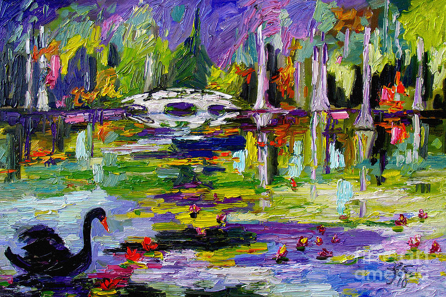 Black Swan on Pond Painting by Ginette Callaway