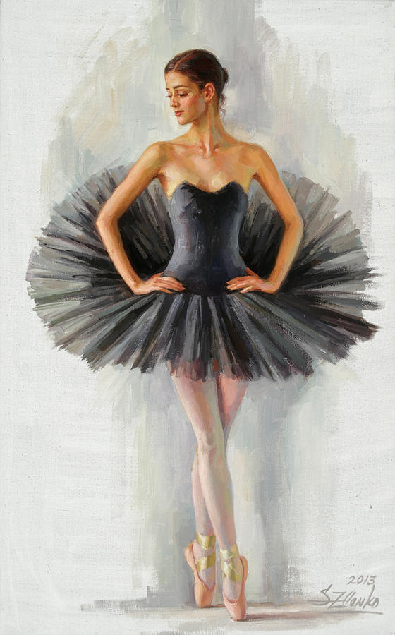 Black Swan Painting by Serguei Zlenko