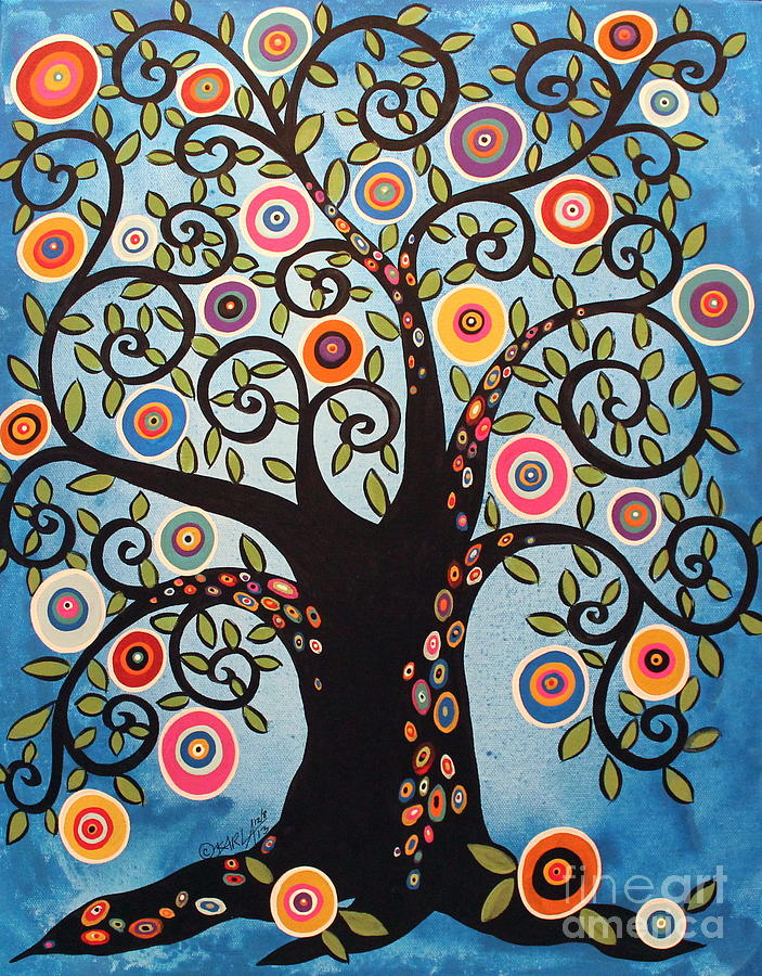 Black swirl tree painting by karla gerard for Pintura color albero