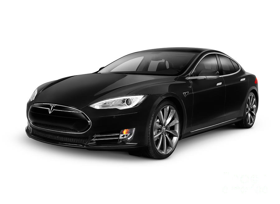Black Tesla Model S Red Luxury Electric Car Photograph By