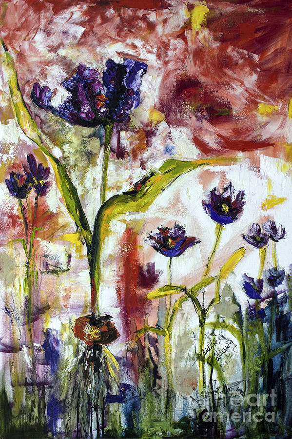 Black Tulips Expressive Oil and Ink Painting Painting by Ginette Callaway