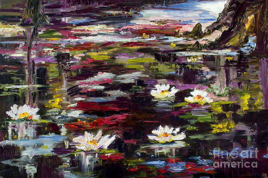 Black Water Lily Pond Painting by Ginette Callaway