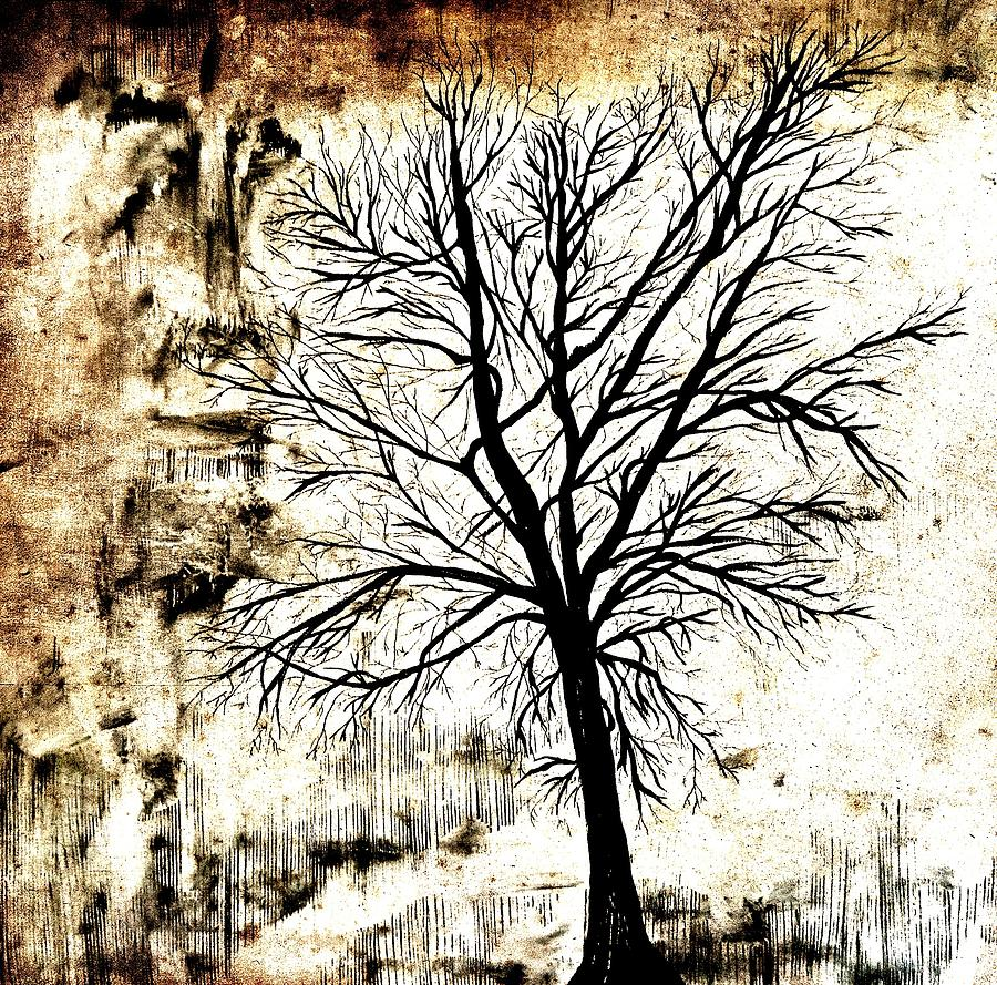 Black White And Sepia Tones Silhouette Tree Painting By