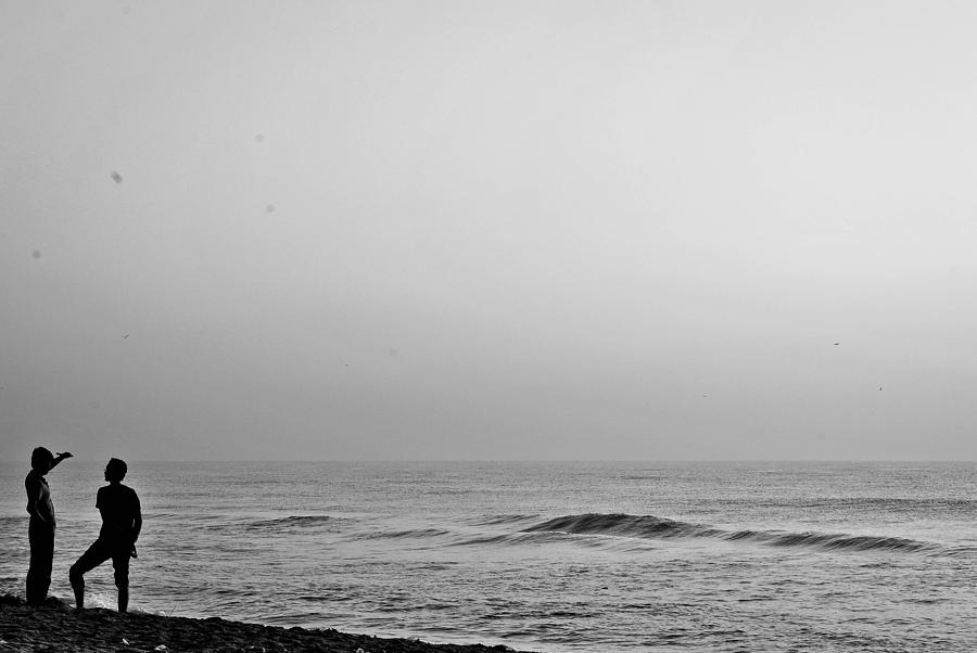Black White Beach Relief by Sathish Sen