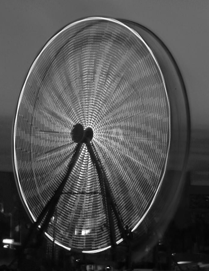 Ferris Wheel Photograph - Black White Ferris Wheel by Joan Robinson