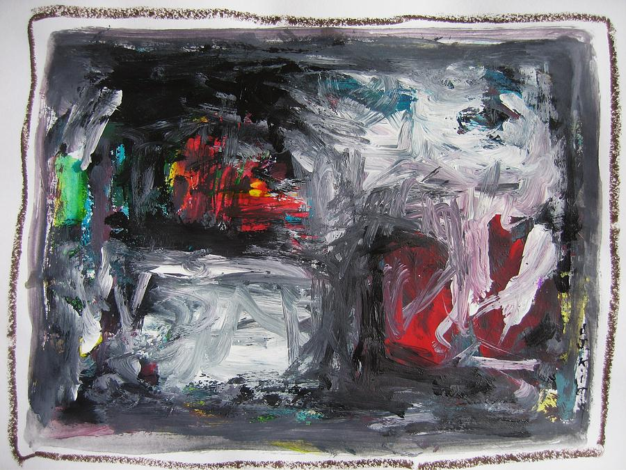 Black White Red Abstract Painting By Seon Jeong Kim