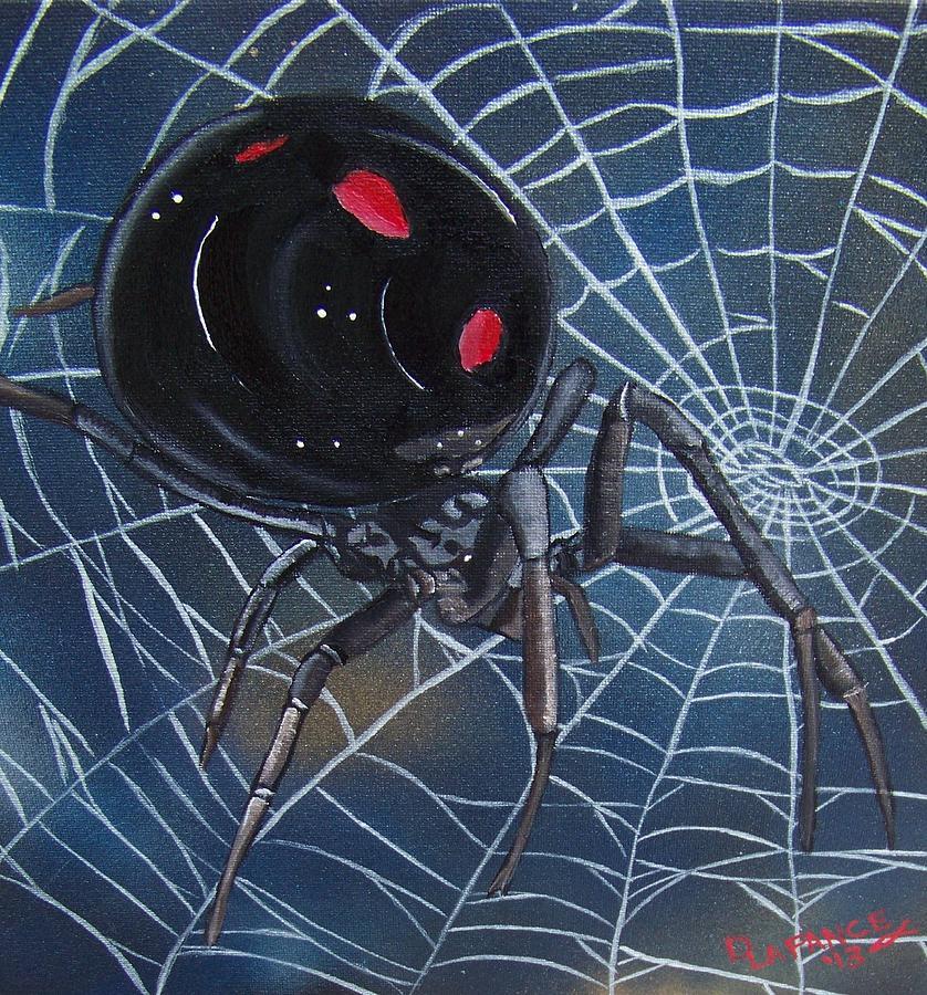 Spider Painting - Black Widow by Debbie LaFrance