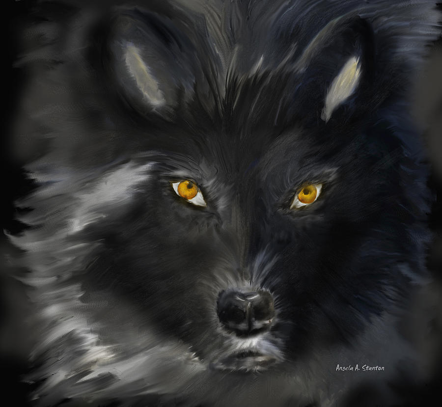 Black Wolf With Yellow Eyes Painting By Angela Stanton
