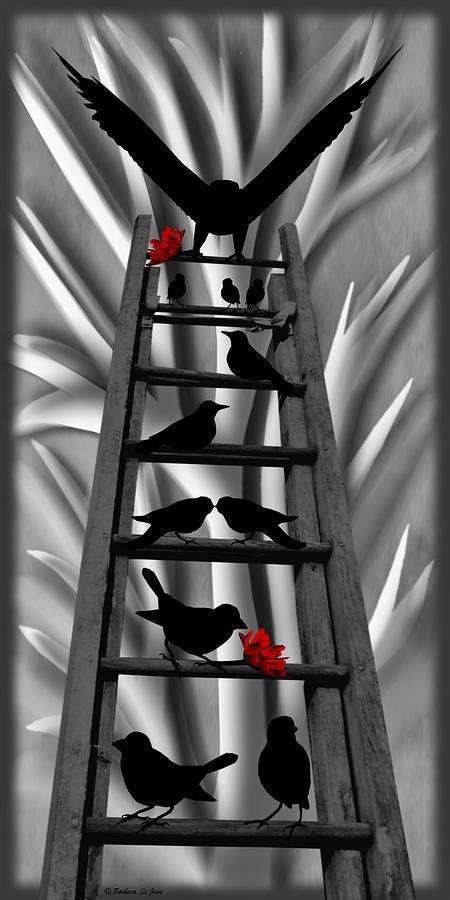 Blackbird Mixed Media - Blackbird Ladder by Barbara St Jean