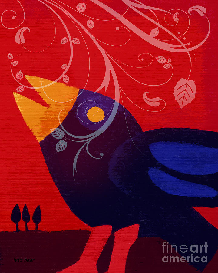 Birdy Digital Art - Blackbird by Lutz Baar