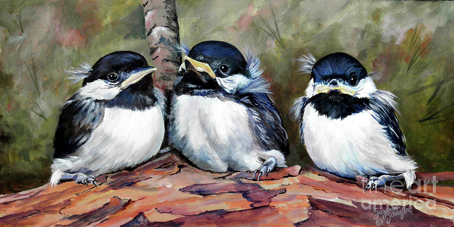 Chickadees Painting - Blackcapped Chickadee Babies by Suzanne Schaefer