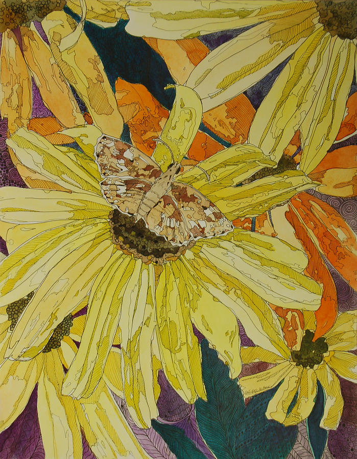 Blackeyed Susan Mixed Media - Blackeyed Susans And Butterfly by Terry Holliday