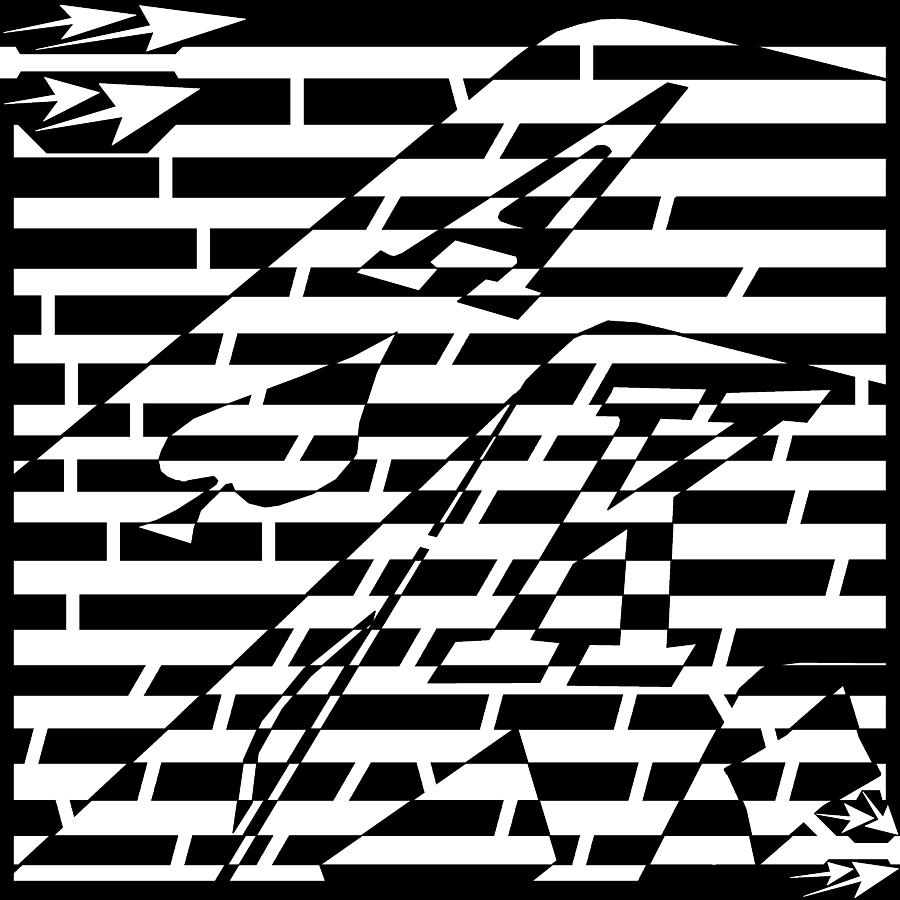 Abstract distortion drawing blackjack ace of spade maze by yonatan frimer maze artist