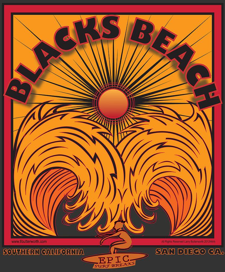 Sports Digital Art - Blacks Beach San Diego California by Larry Butterworth