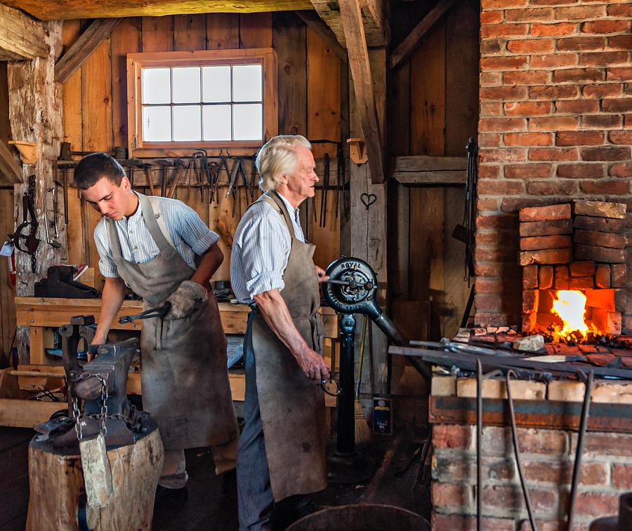 Blacksmith Photograph - Blacksmith And Apprentice 2 by Steve Harrington