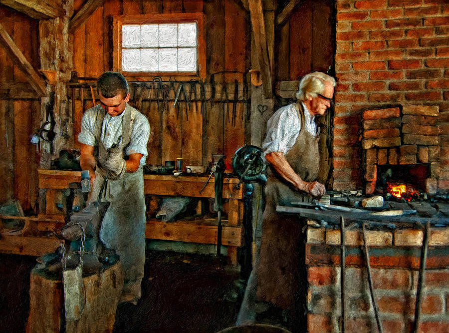 Blacksmith Photograph - Blacksmith And Apprentice Impasto by Steve Harrington