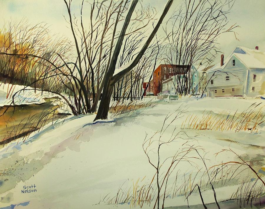 Watercolor Painting - Blackstone River Snow  by Scott Nelson