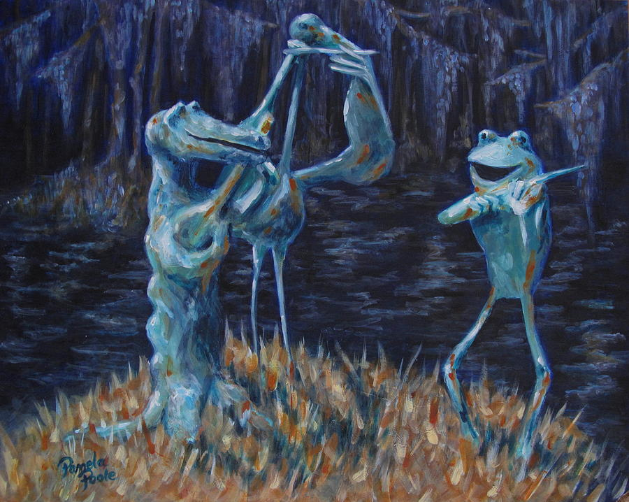 Swamp Painting - Blackwater Vibrations In The Audubon Swamp by Pamela Poole