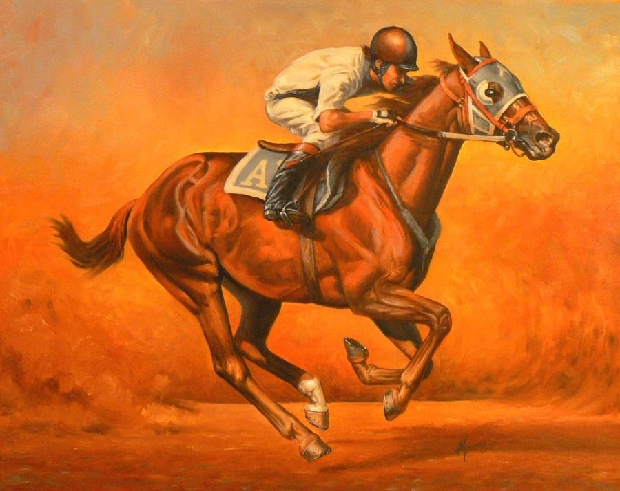 Horses Painting - Blazin Fast by Kerry Nelson