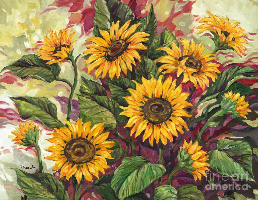 Flowers Painting - Blazing Sunflowers by Paul Brent