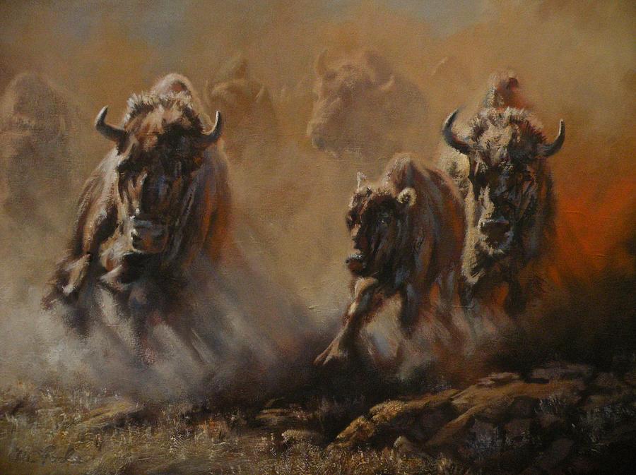 Buffalo Painting - Blazing Thunder by Mia DeLode
