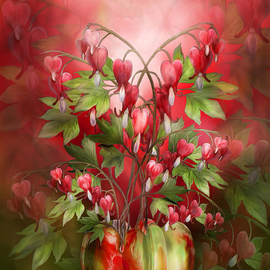 Bleeding Hearts Bouquet Mixed Media by Carol Cavalaris