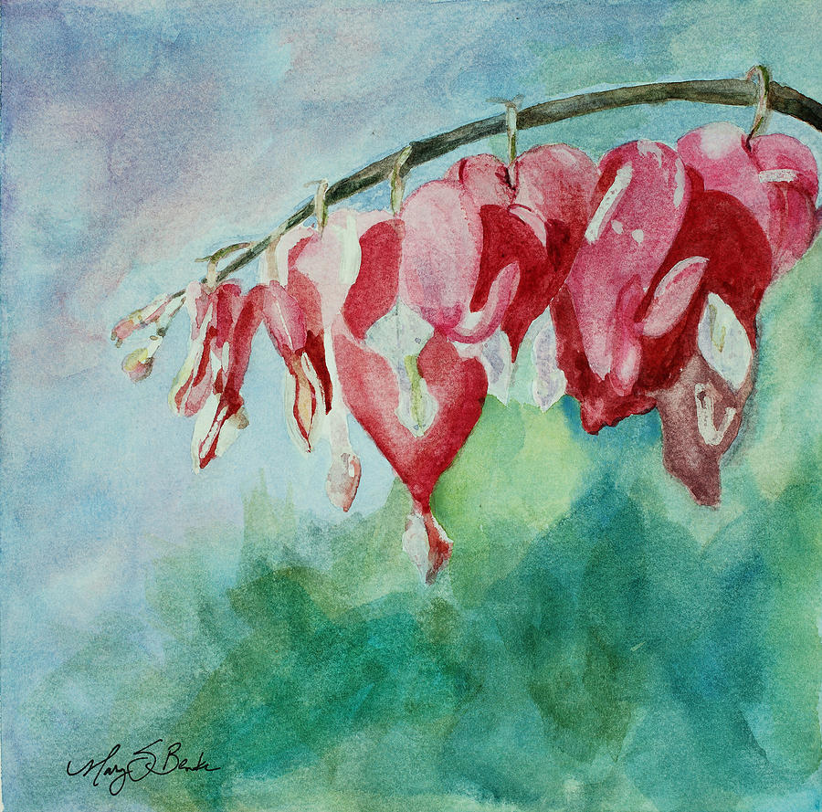 Watercolor Painting - Bleeding Hearts by Mary Benke