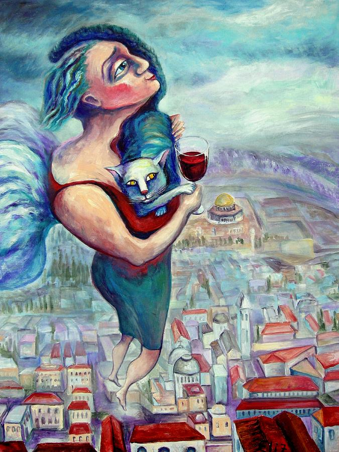 Judaic Painting - Blessing Over The Wine by Elisheva Nesis