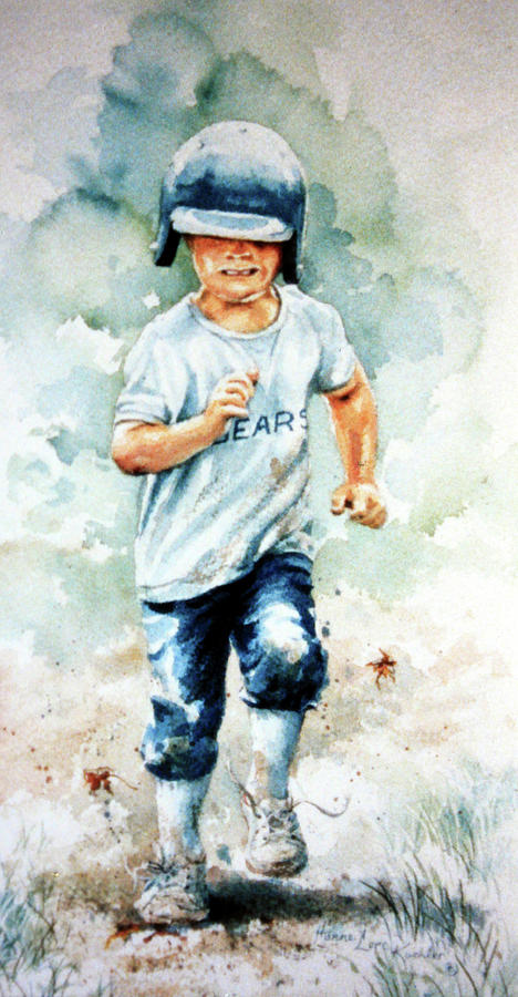 Kids Baseball Art Painting - Blind Dash For First by Hanne Lore Koehler