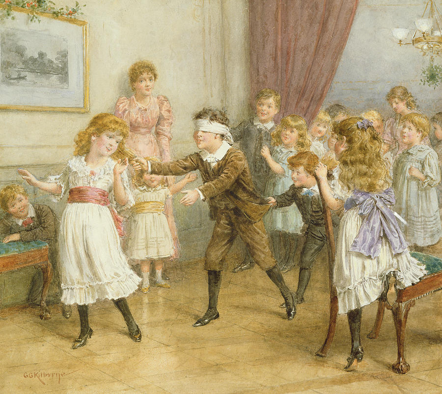 Victorian Painting - Blind Mans Buff by George Goodwin Kilburne