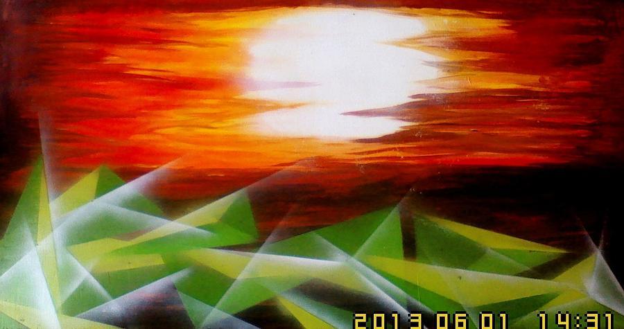 Mural  Painting - Bling Sunset by Oke Masdiananta