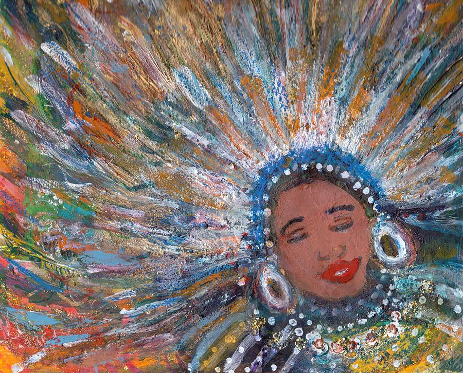 Bliss Painting - Blissfull Babe With Feathers Revised by Anne-Elizabeth Whiteway